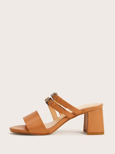 Double Buckle Strap Chunky Heeled Mules
