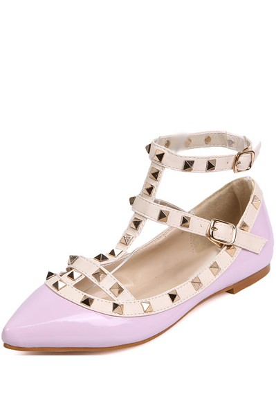 Light Purple Faux Leather Studded Strappy Flats