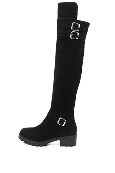 Black Suede Buckle Accent Thigh High Boots