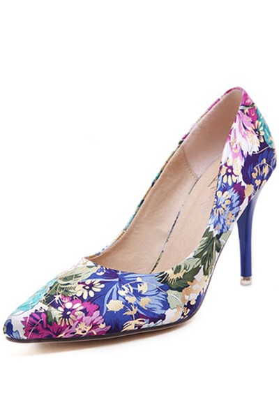 Blue Floral Print Single Sole Pump Heels