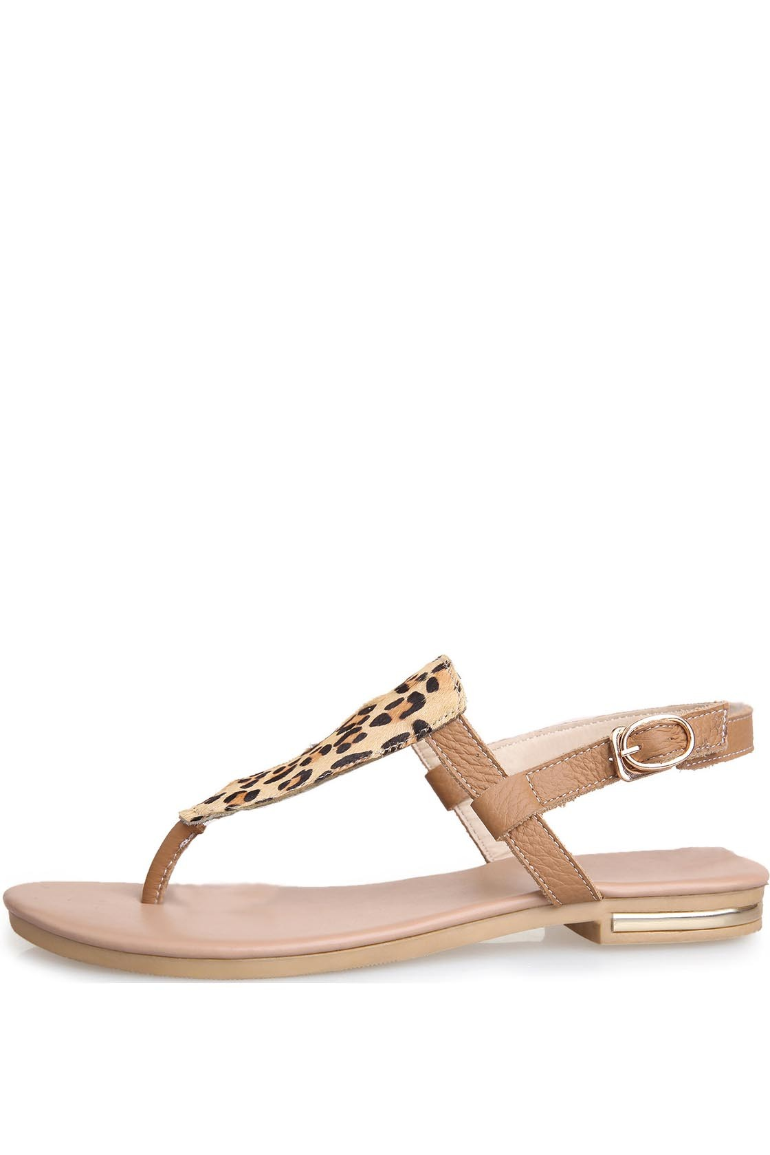 Apricot Faux Leather Leopard Print Thong Post Sandals