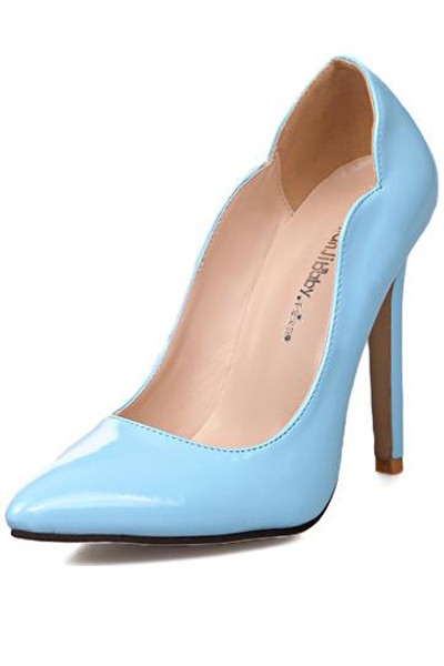 Light Blue Pu Pointed Toe Pump High Heels