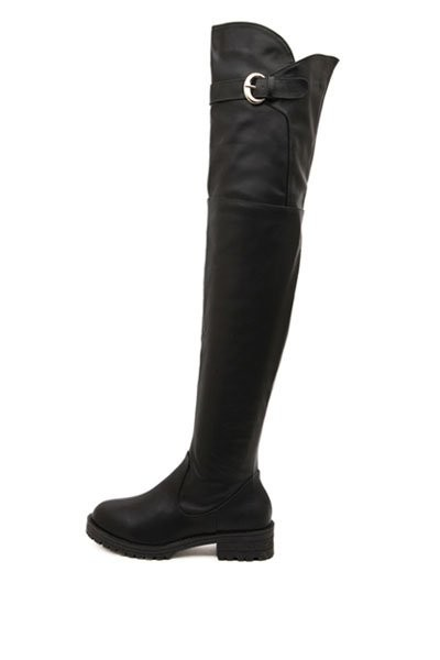 Black Faux Leather Buckle Accent Thigh High Boots