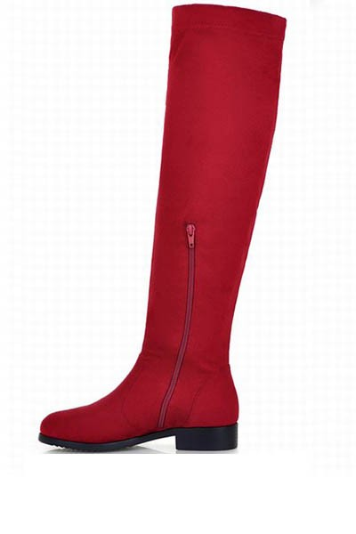 Red Faux Suede Over The Knee Boots