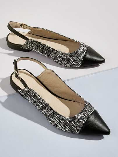 Point Toe Tweed Slingback Flats