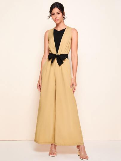 Colorblock Wide Leg Belted Jumpsuit