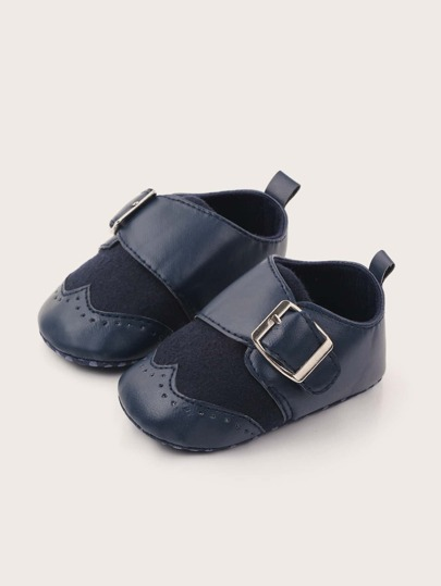 Baby Boy Buckle Decor Wingtip Detail Flats