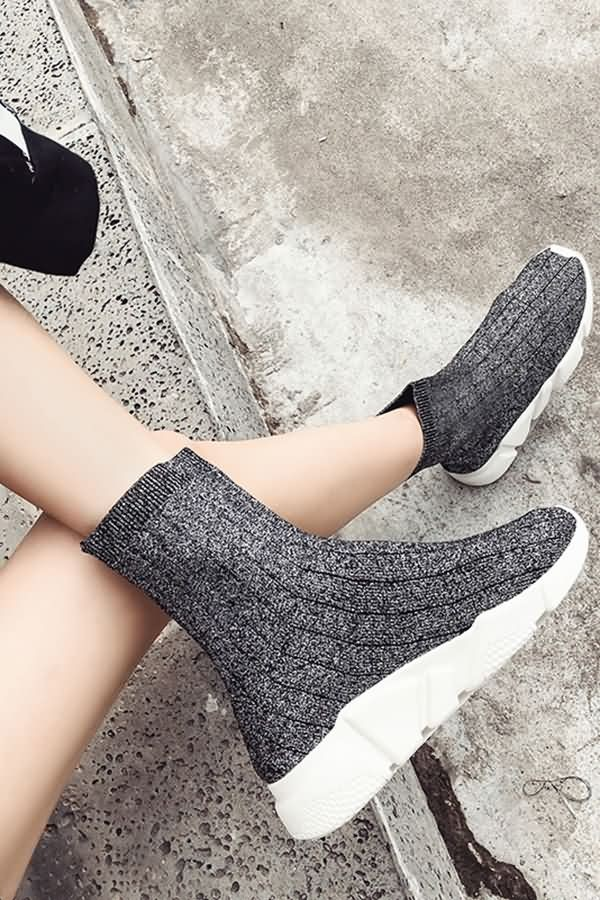 Dark-gray Glitter Knit Flat Sock Boots