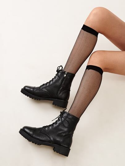 Side Zip Lace-up Front Combat Boots