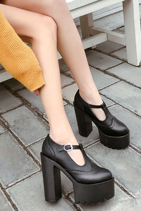 Black Buckle T-strap Round Toe Chunky Block High Heel Boots