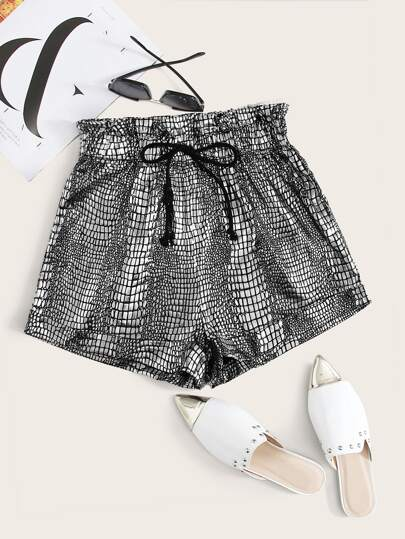 Paperbag Waist Knotted Crocodile Embossed Shorts