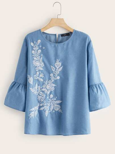 Plus Tribal Embroidered Flounce Sleeve Top