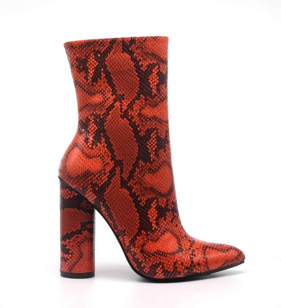 BOAS SNAKE SKIN CHUNKY STACKED HIGH HEELED ANKLE BOOTS-ORANGE