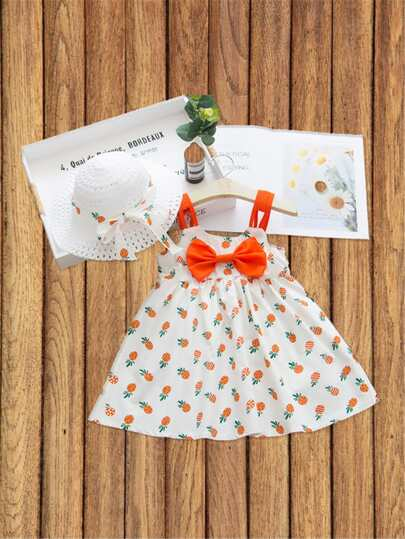 Toddler Girls Pinafore Print Bow Front Cami Dress With Hat