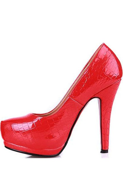 Red Patent Faux Leather Embossed Heels