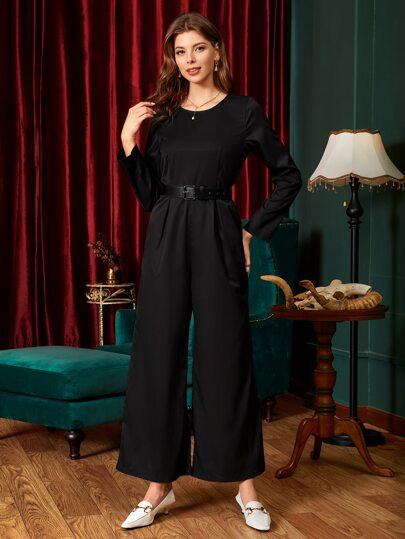 Wide Leg Jumpsuit With Belt