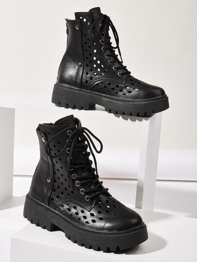 Hollow Out Lace-up Front Ankle Boots