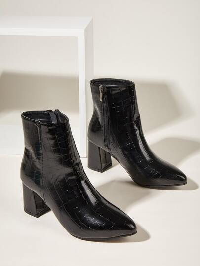Point Toe Side Zipper Chunky Heeled Boots