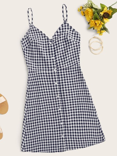 Single Breasted Houndstooth Cami Dress