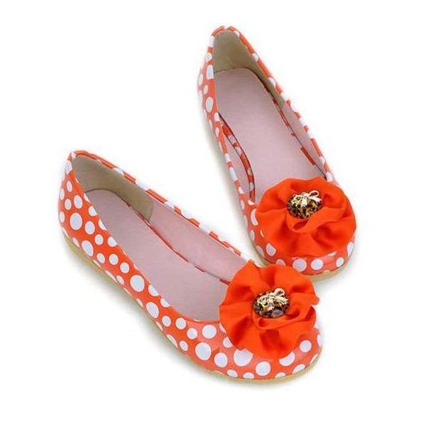 Faux Leather Dots Printed Flower Decor Sweet Flats