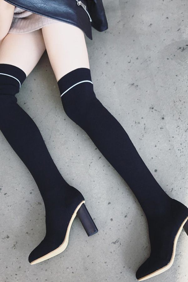 Black Pointged Toe Striped Chunky Heel Thigh High Sock Boots