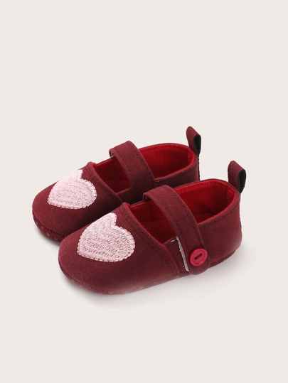 Baby Girl Heart Embroidered Flats