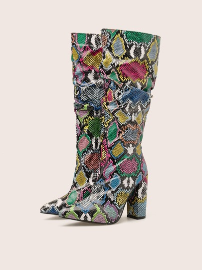 Snakeskin Chunky Heeled Boots