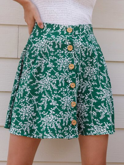 Button Front Botanical Print Skirt