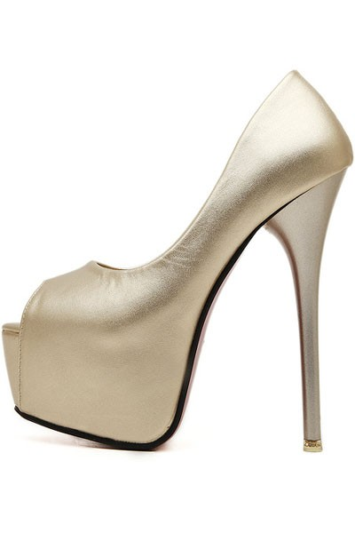 Gold Faux Leather Peep Toe Platform Stiletto Heels