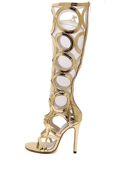 Gold Cutout Open Toe Knee High Gladiator Heels