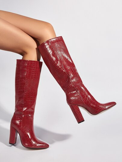 Croc Embossed Chunky Heeled Knee Boots