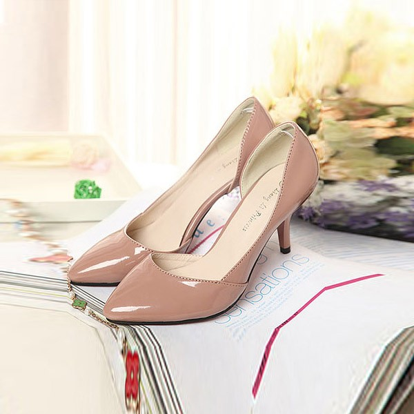 Nude Faux Patent Leather Pointed Toe Heels