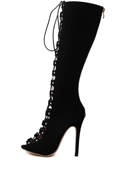 Black Lace Up Peep Toe Stiletto Heel Knee High Boots