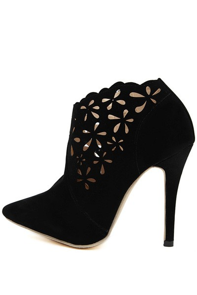 Black Suede Hollow Out Pointed Toe Stiletto Booties