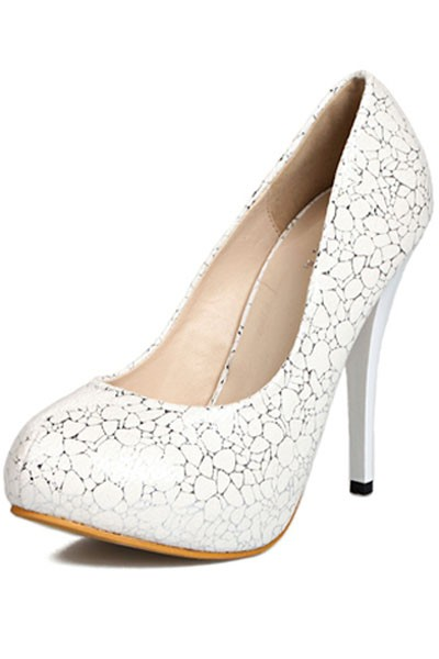 White Faux Leather Pump Stylish Stiletto Heels