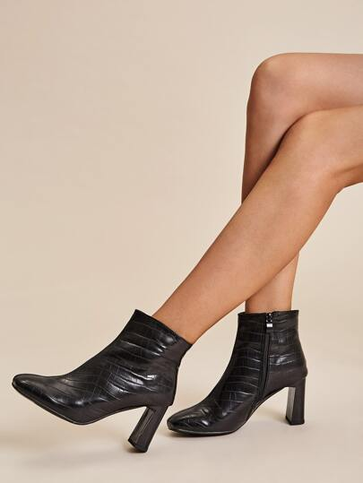 Croc Embossed Side Zip Chunky Boots