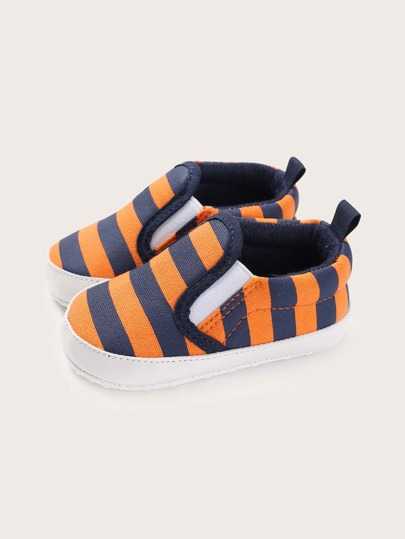 Baby Boy Striped Graphic Flats