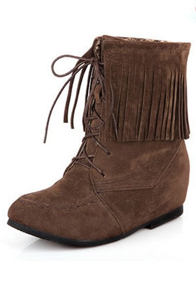 Brown Nubuck Lace Up Tassel Boots