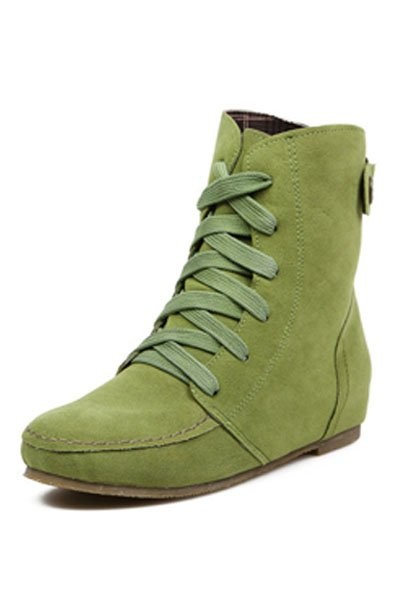Green Suede Lace Up Flat Ankle Boots
