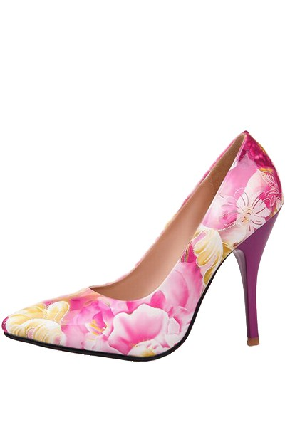 Fuchsia Patent Leather Floral Pattern Pump Heels