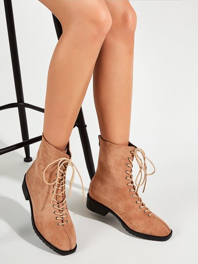 Lace-up Front Suede Ankle Boots