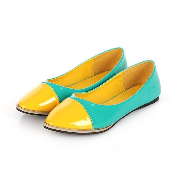 Faux Patent Leather Two Tone Color Design Flats