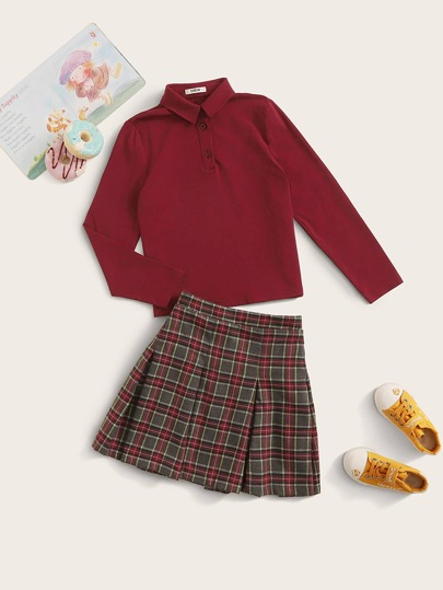 Girls Solid Half Placket Top & Tartan Skater Skirt Set