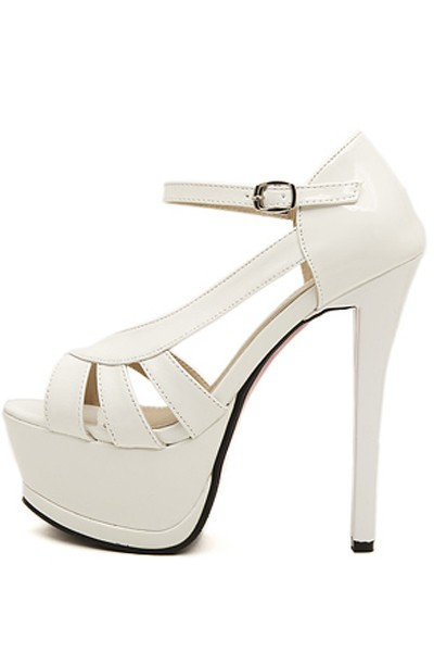 White Faux Leather Cutout Ankle Strap Platform Heels