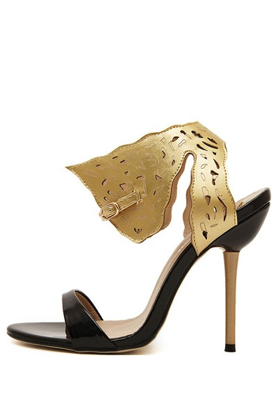Gold Faux Pu Cutout Open Toe Stiletto Heels