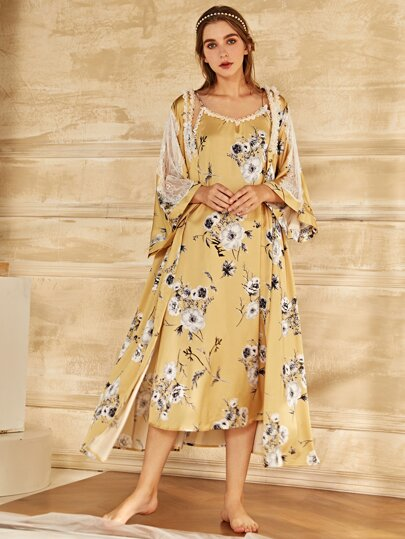 Flower Print Contrast Lace Slip Dress & Night Robe