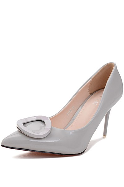 Light Gray O Ring Pointed Toe Pump Stiletto Heels