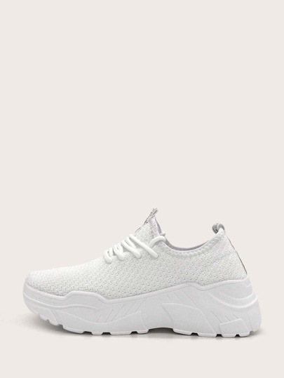 Minimalist Lace-up Front Chunky Sneakers