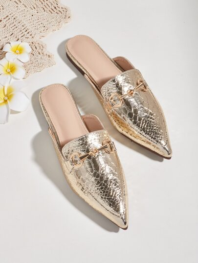 Point Toe Croc Embossed Flat Mules