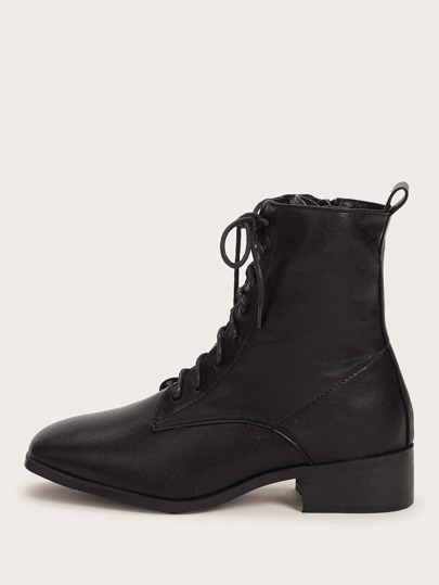 Square Toe Lace-up Front Combat Boots